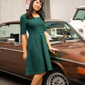 Betabrand Elixir Dress Fit and Flare Green Size XL